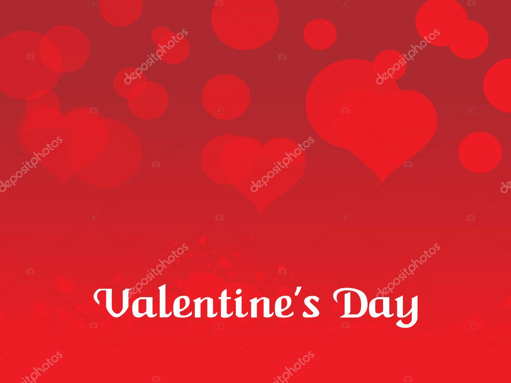 Abstract red valentine day background with romatic herts — Векторная иллюстрация #2808535