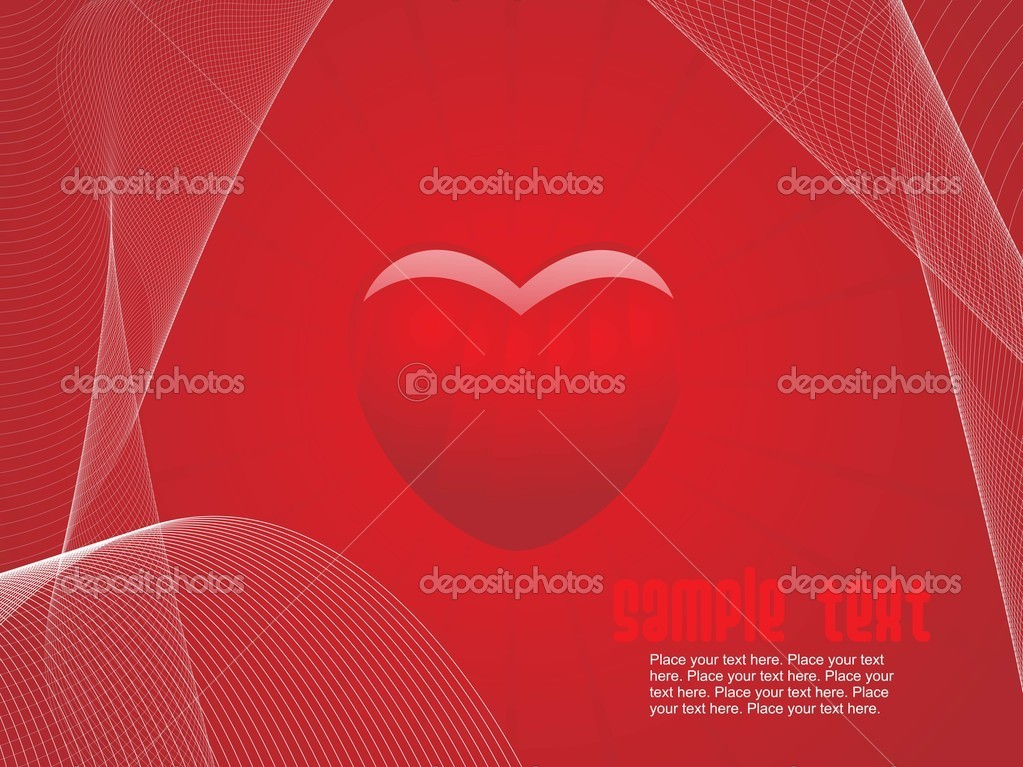 Abstract red background with red heart and wave illustration — Vettoriali Stock  #2809260
