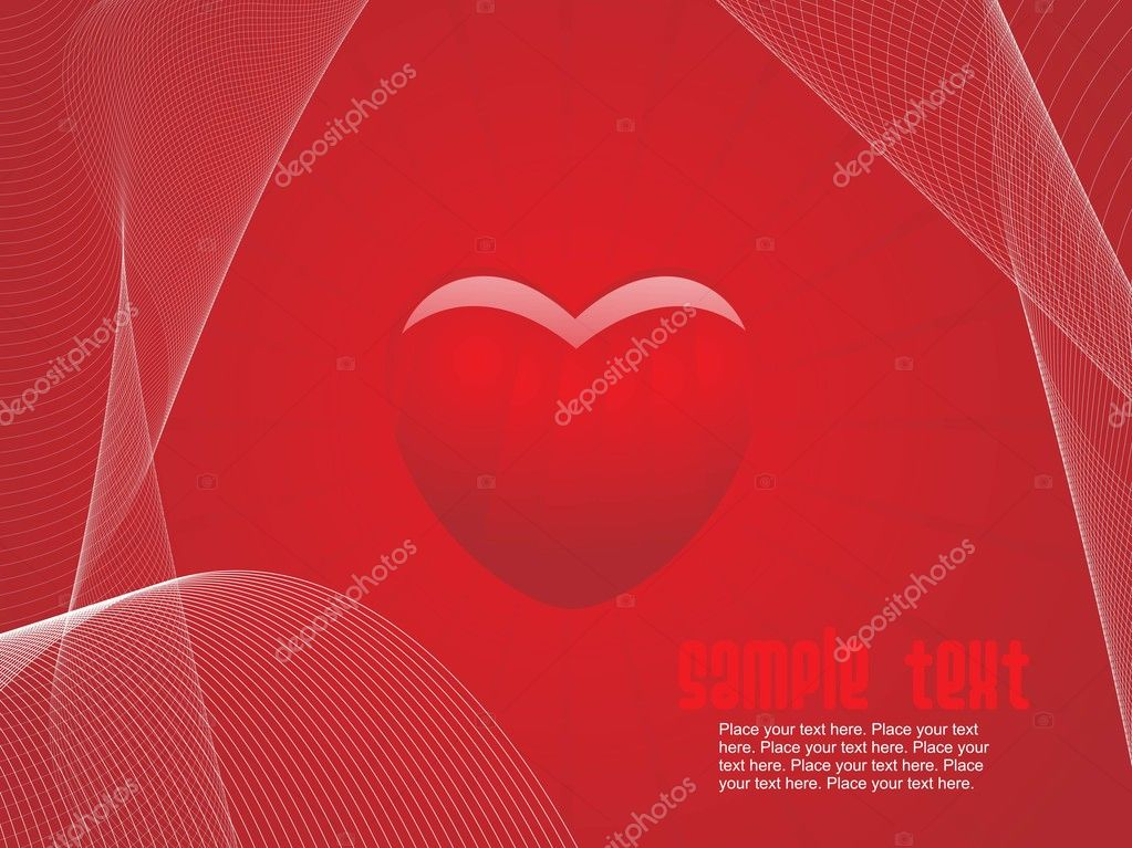 Abstract red background with red heart and wave illustration — Imagens vectoriais em stock #2809260