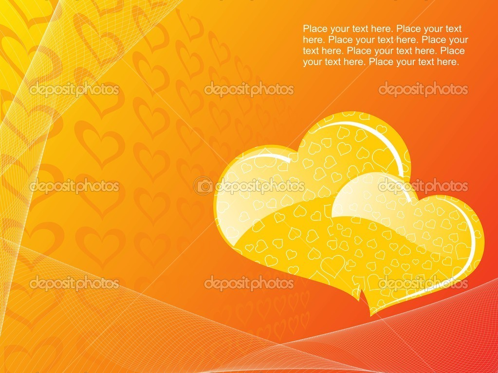 Abstract yellow wave, macro background with set of heart and place for text — Stock Vector #2809262