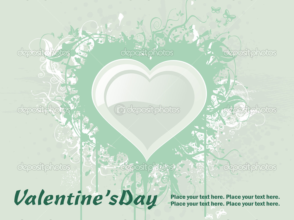 Green grungy floral with big heart for valentine day — Векторная иллюстрация #2809403
