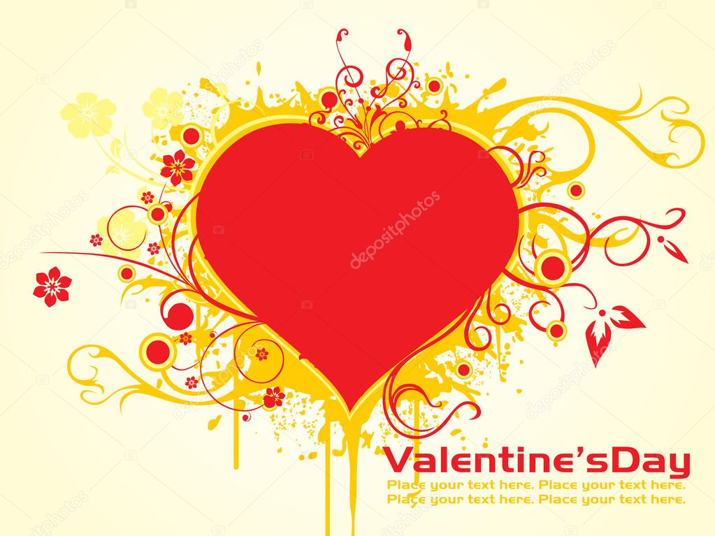 Background with grungy floral design heart shape for valentine day — Stock Vector #2809426