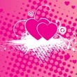 Stock Vector: Grungy macro background with pink heart