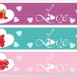 Set of three love banner — Stock Vector
