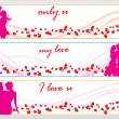 Set of three valentine banner - Stock Vector