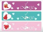 Set of three love banner — Stock Vector