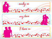 Set of three valentine banner — Stock Vector