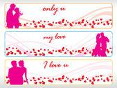 Set of three valentine banner — Stock Vector