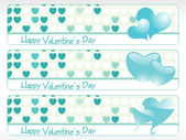 Banner with seagreen hearts — Stock Vector