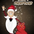 Background with santa holding gift bag - Stock Vector