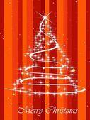 Background with shiny xmas tree — Stock Vector