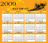 Wallpaper, year 2009 calendar — Stock Vector