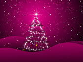 Magenta background with xmas tree — Stock Vector