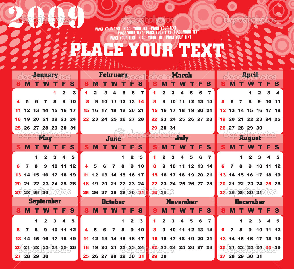 Wallpaper Editorial Calendar : Wallpaper year calendar — stock vector