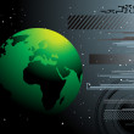stile di tecnologia mappa mondo — Vettoriale Stock