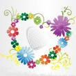 Stock vektor: Background with floral heart