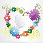 fondo con corazón floral — Vector de stock
