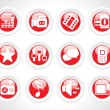 Stock Vector: Web 2.0 glassy icons set in red