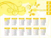Calendrier pour 2009 avec floral — Vecteur