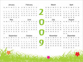 Calendar for 2009 with floral — Stock Vector