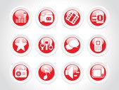 Camsı web 2.0 icons set içinde kırmızı — Stok Vektör