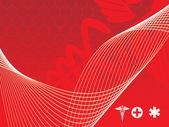 Ondas con caduceo médico — Vector de stock