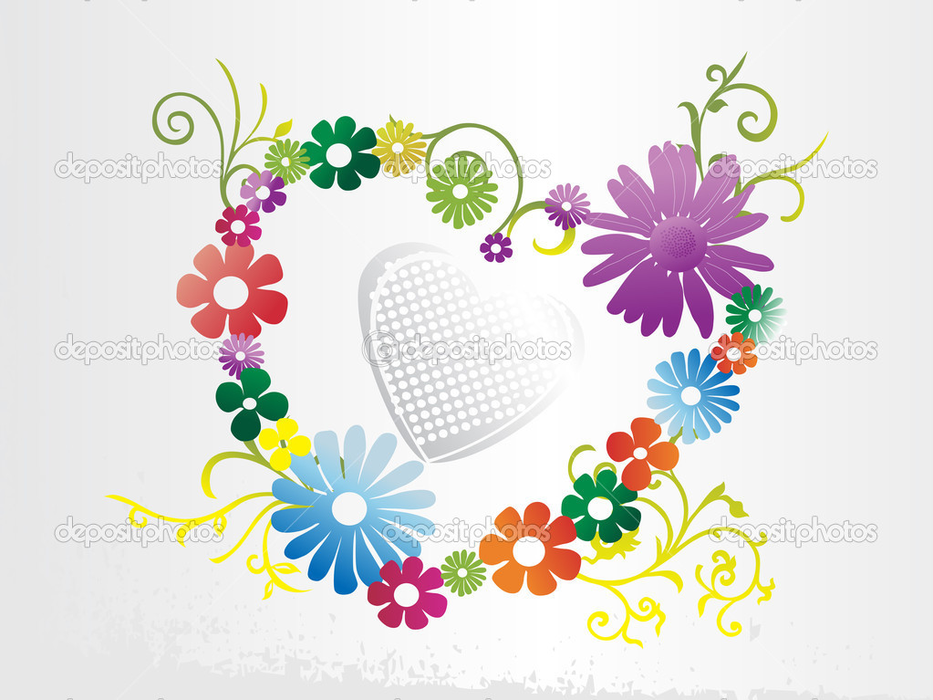 White valentines background with floral heart  Grafika wektorowa #2837850