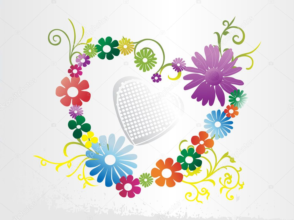 White valentines background with floral heart — Stok Vektör #2837850