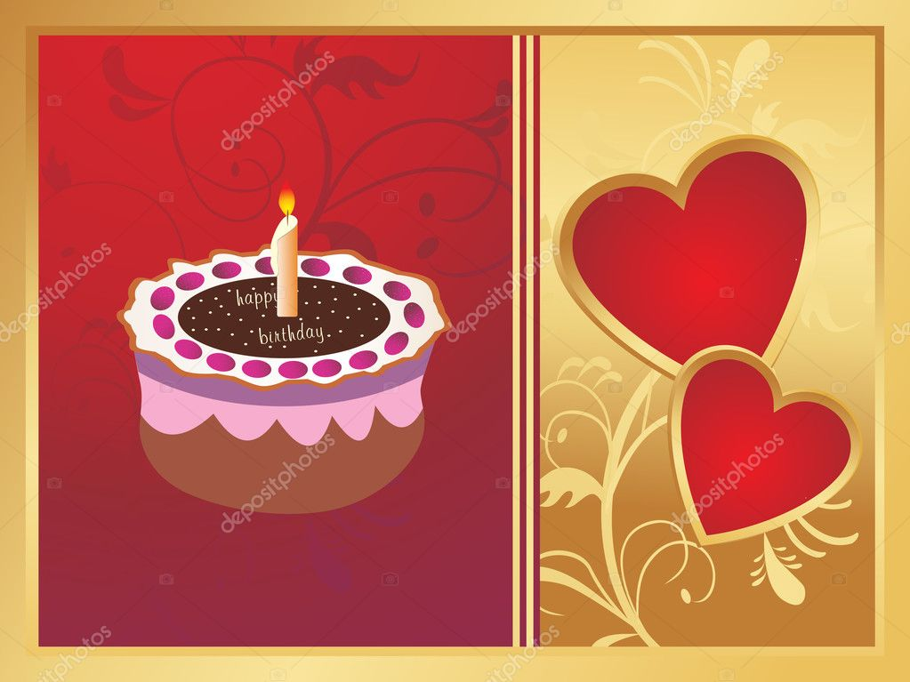 Wedding anniversary card on red and golden background — Vektorgrafik #2837985