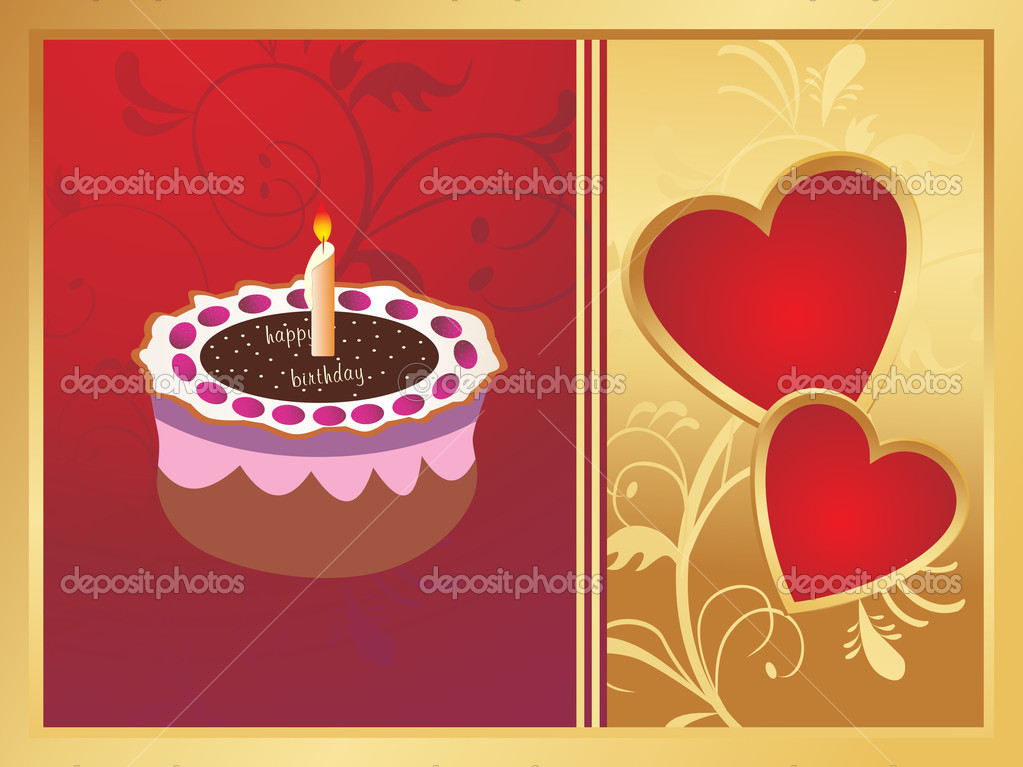 Wedding anniversary card on red and golden background  Stockvectorbeeld #2837985