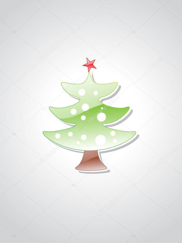 Glossy xmas day tree isolated on grey background  Stock Vector #2839315
