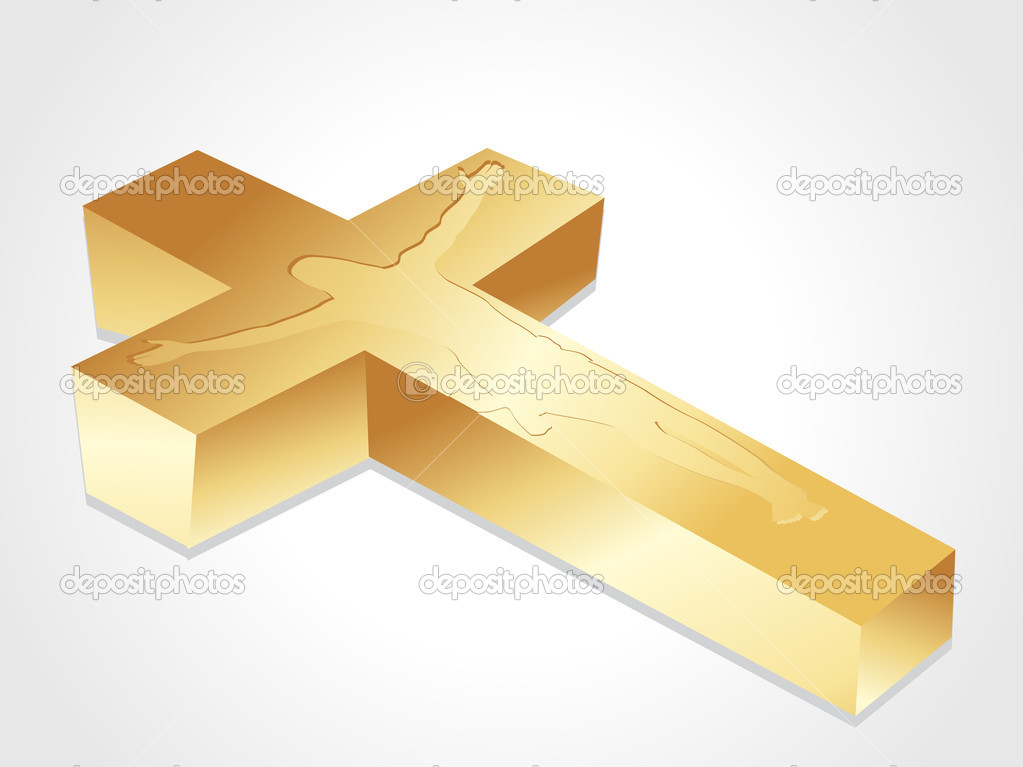 Isolated golden cross with jesus christ on white background — Stock Vector #2869374