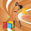 Stock Vector: Long look shopping sexy girl