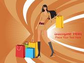 Long look shopping sexy girl — Stock Vector