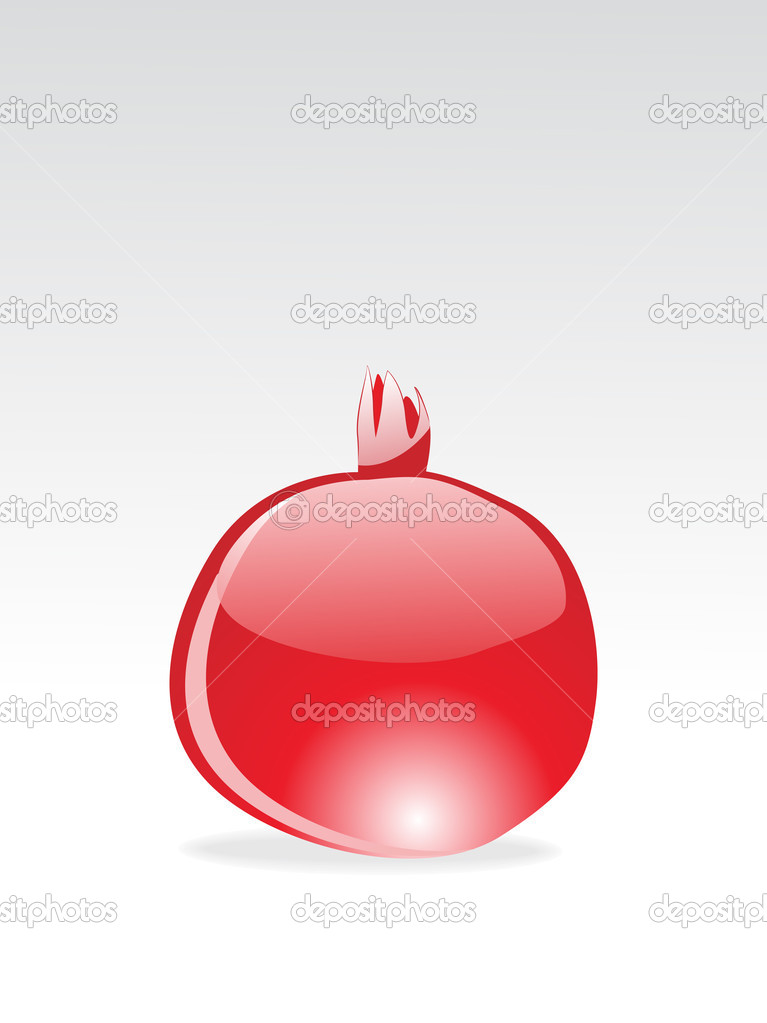 Background with isolated red glossy pomegranate, vector wallpaper — Stock Vector #2870104