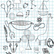 Hand drawn icons with background — Stock Vector