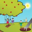Kids playing in the park, illustration - Stok Vektör
