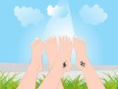 Legs showing tattoo on garden — Stock Vector
