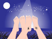 Legs showing tatto on the night — Stock Vector
