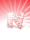 Stylish alphabet n with rays background — Stock Photo
