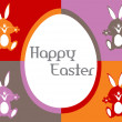 Stock Vector: Happy easter card with bunny