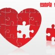 Vector de stock : Jigsaw puzzle heart, vector