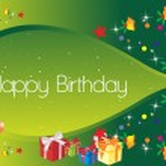 Happy birthday green banner — Stock Vector
