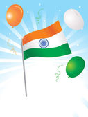 Isolated indian flag and balloon — Stock Vector