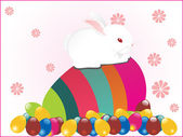 Background with rabbit sit on egg — Stock Vector