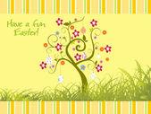 Garden background with bloom tree — Stock Vector
