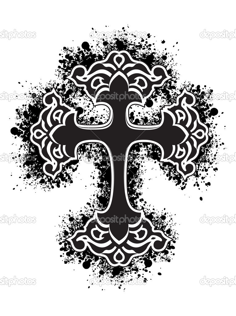White background with isolated black grungy cross  — Stock Vector #2897950