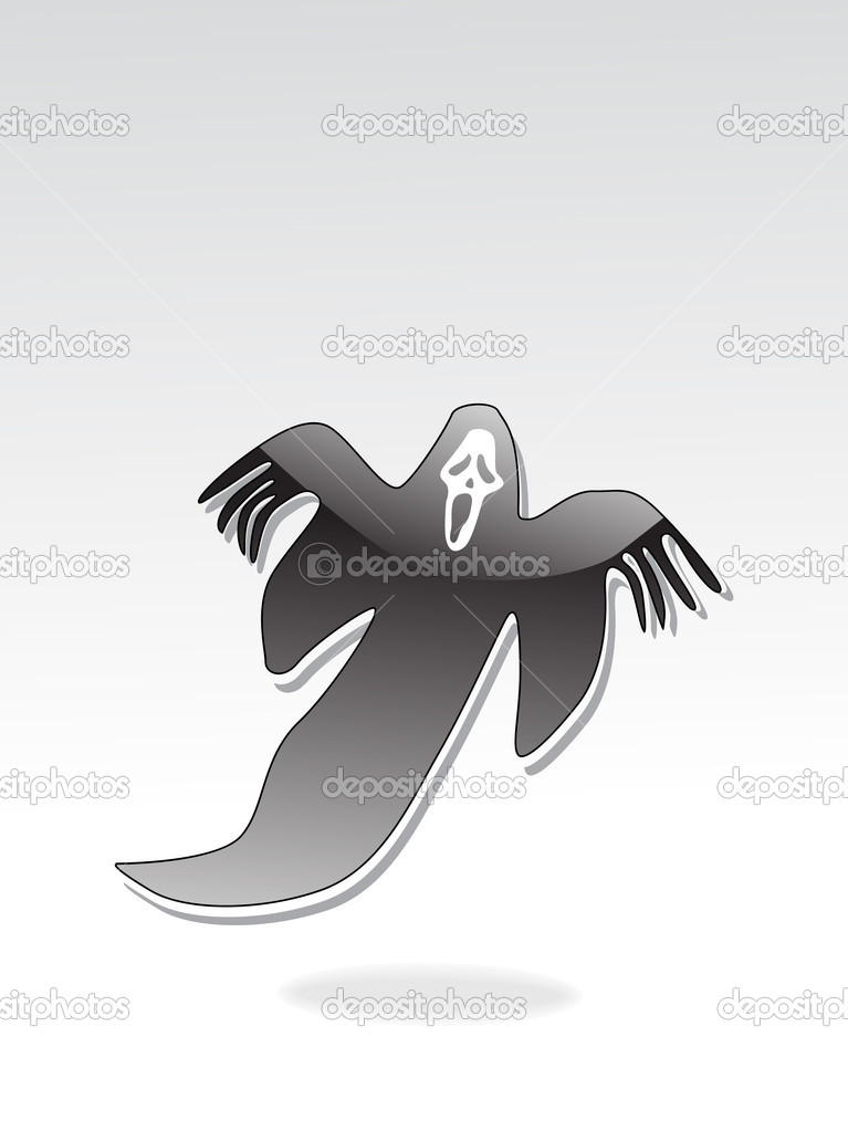 Grey background with isolated witch, vector wallpaper — Stock Vector #2898629