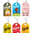 Beautiful pattern set of easter day tag - Stok Vektör