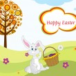 Easter bunny sit in garden background — Stock Vector